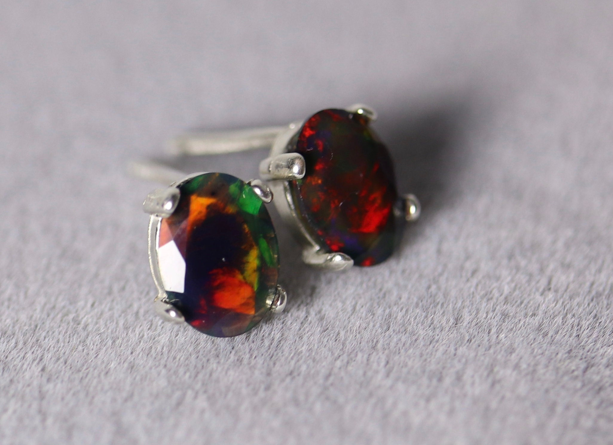 50595c628 RED colored fiercely bright fire natural black fire opal stud earrings,  silver opal studs, natural black opal earrings, fire opal studs,