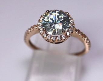 Halo engagement ring, moissanite ring, light blue moissanite, halo bridal set, gold wedding ring, classic engagement