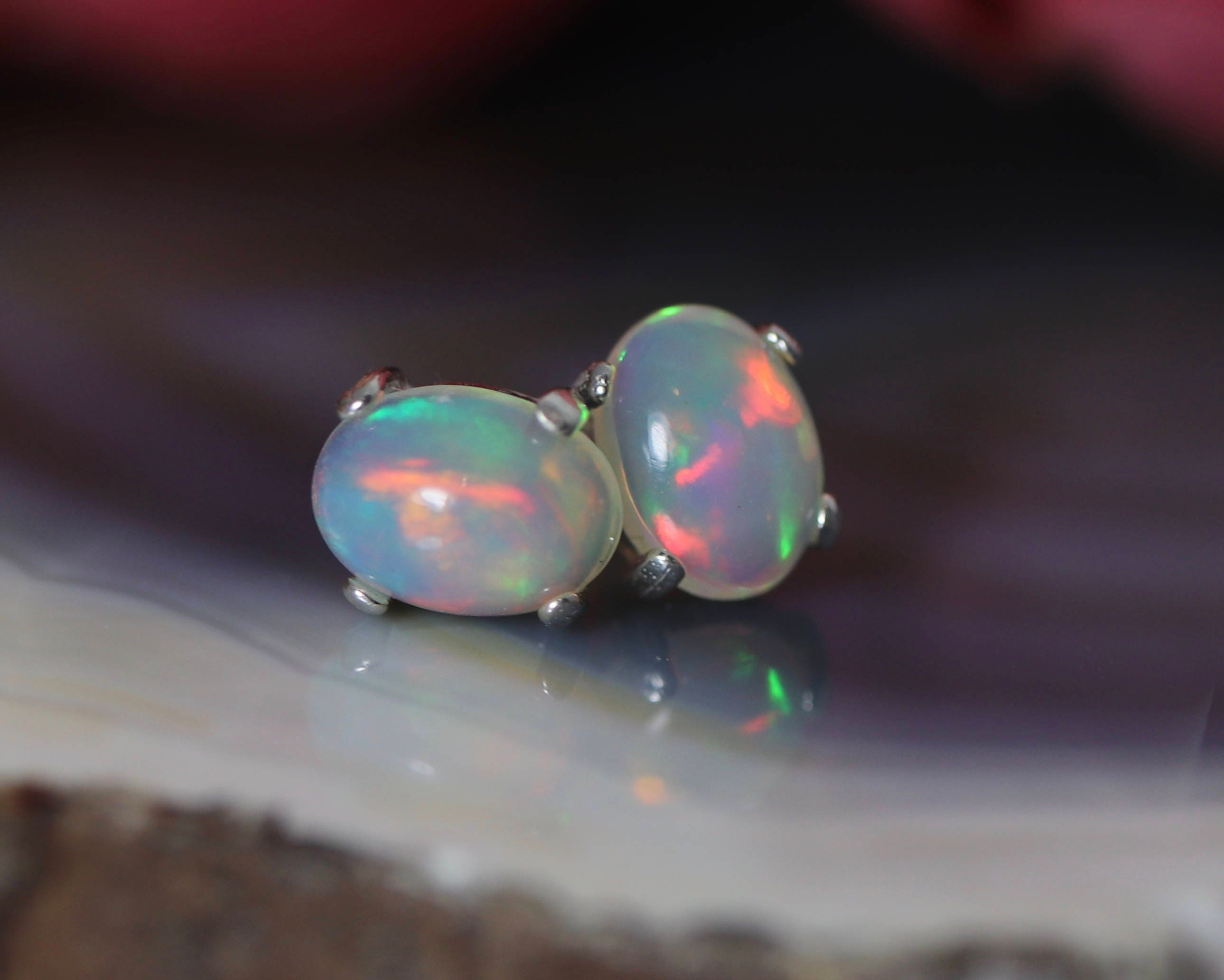 d12ac1c74 AAA rainbow fire opal cabochon stud earrings, genuine opal studs, fire ...