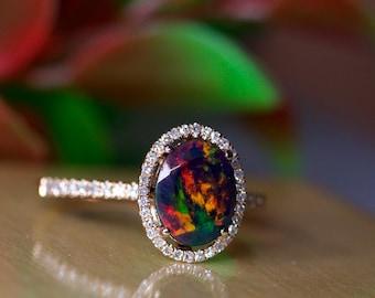 Black opal halo ring, 14k gold engagement, natural diamonds accented, Art Deco bridal set, Silver opal gold band, wedding ring set, opal
