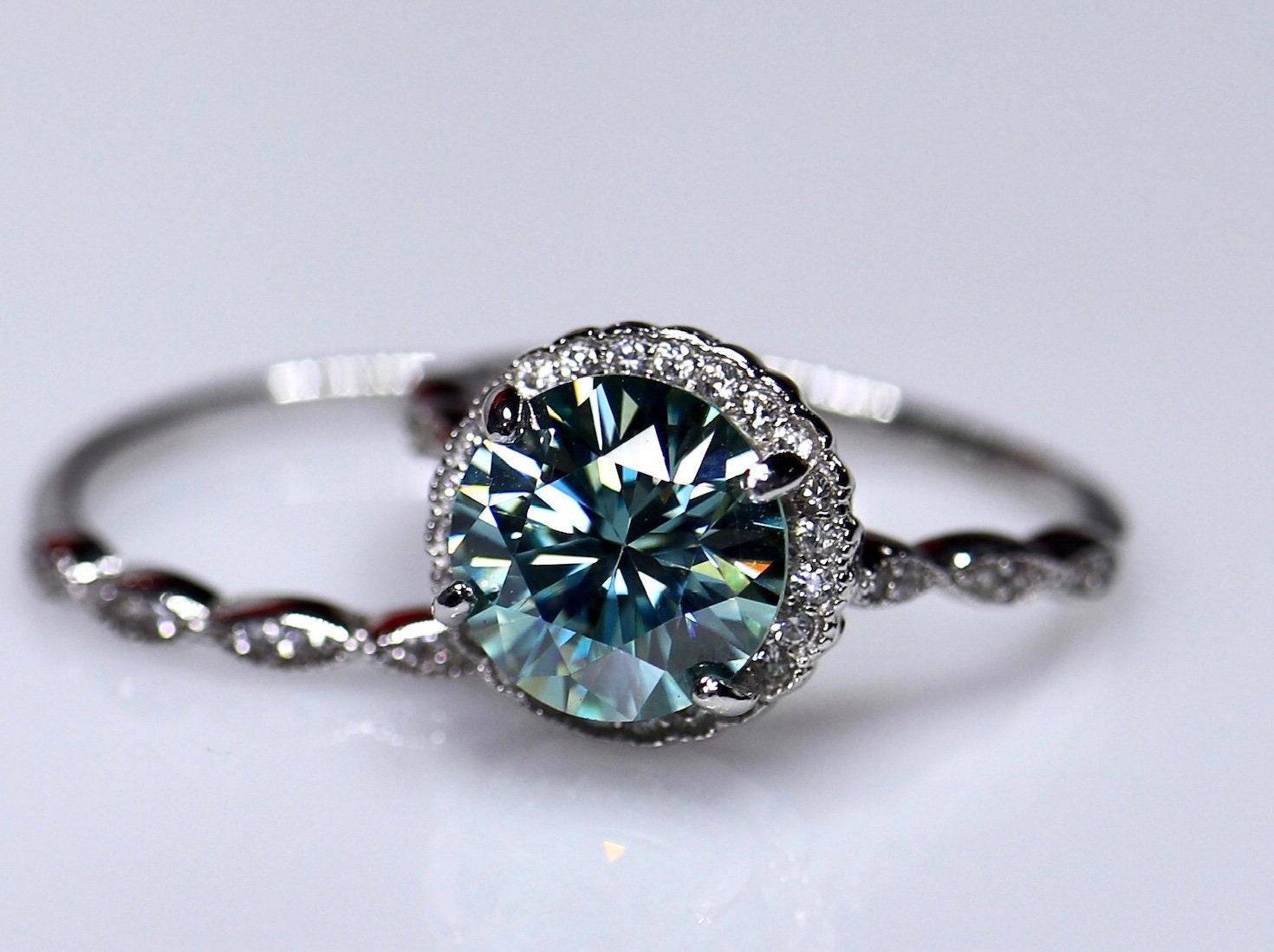 Blue moissanite ring, engagement ring, wedding ring set, grey ...