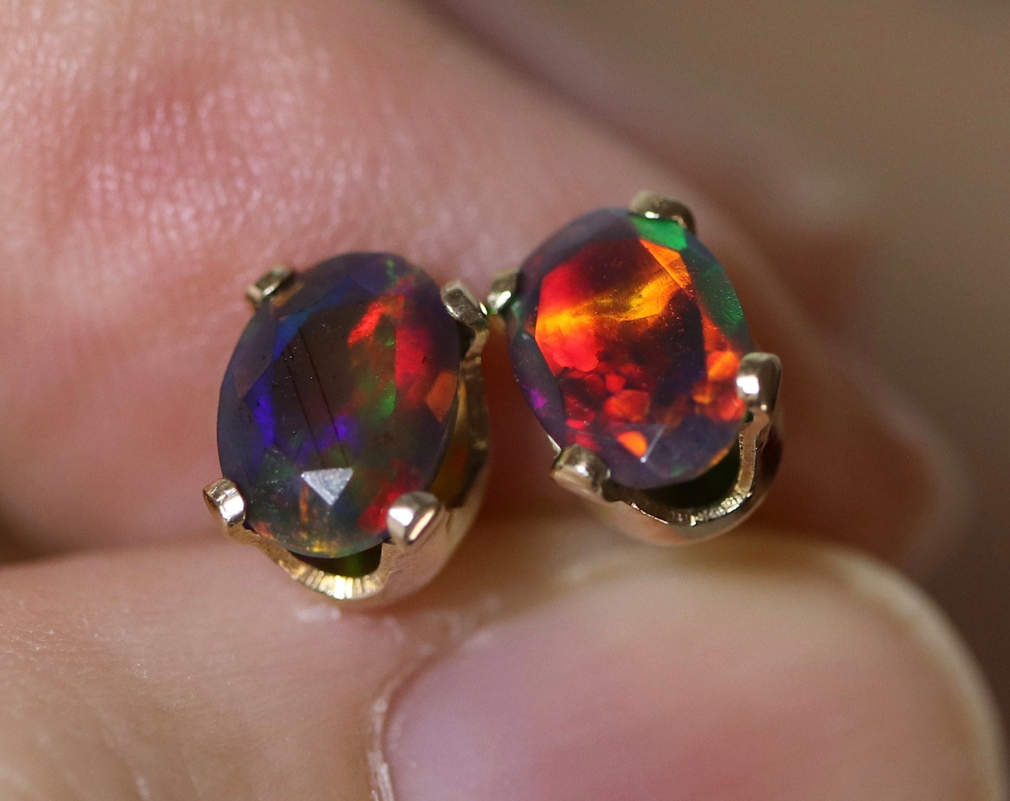 ba3647583 Natural black fire opal stud earrings, black opal vermeil earrings, Gold ...