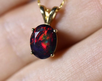 Fire opal necklace, black opal pendant, gold opal jewelry, red black opal, birthday gift, red gemstone, anniversary gift, classic necklace,