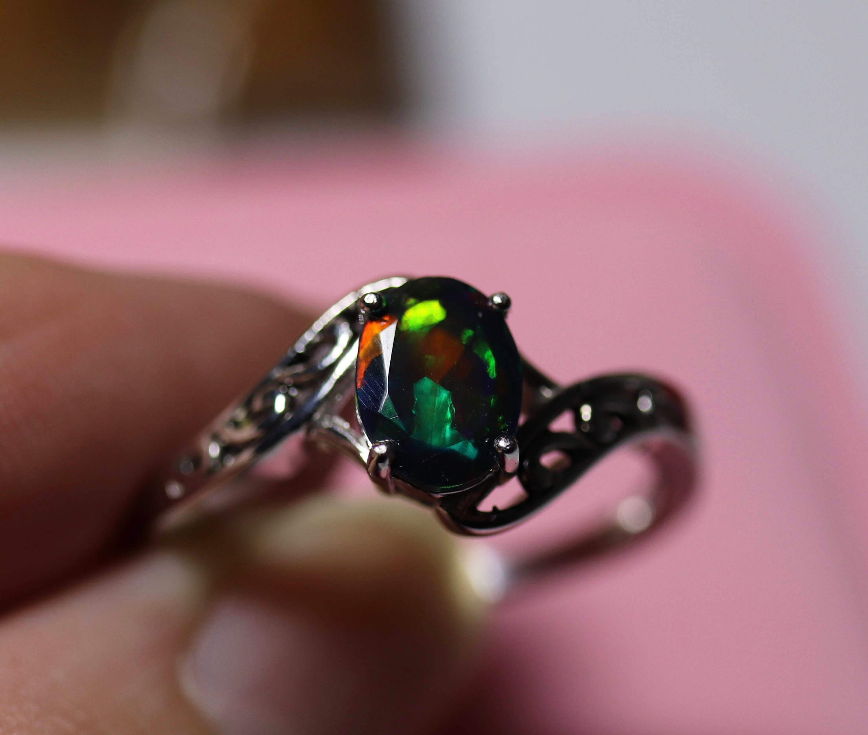 MIXED colors fire, black opal ring, natural black opal ring, black ...