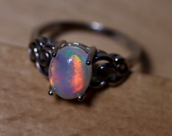 FABULOUS true rainbow fire natural opal ring, silver opal ring, genuine fire opal ring, fire opal cabochon ring, rainbow fire opal, opal