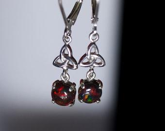 Black opal dangles, fire opal earrings, Celtic style, opal cabochon, red fire, white gold plated, 925 sterling silver, leverback opal,