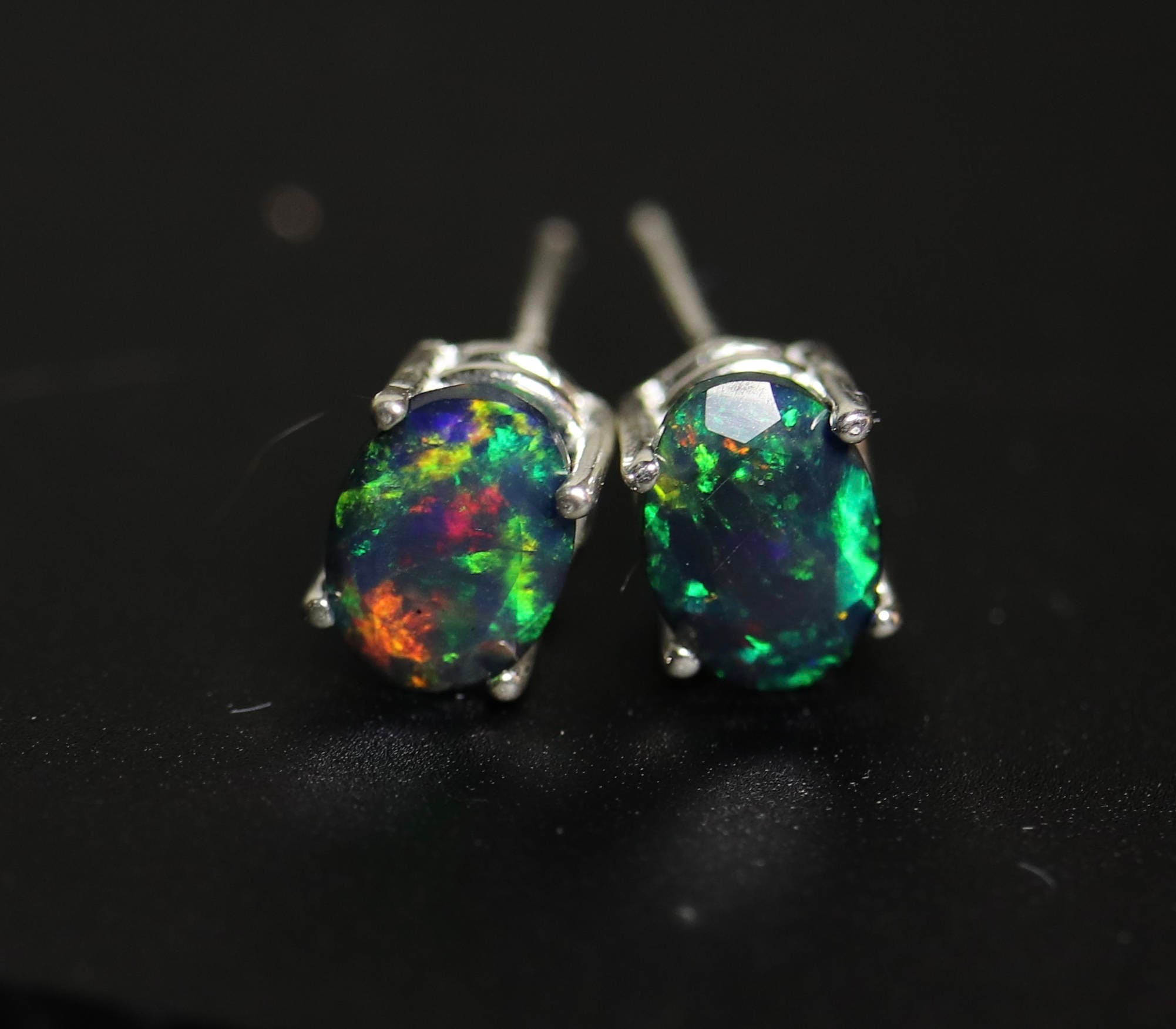0a74b2350 Black opal studs, black fire opal, opal jewelry, anniversary gift, natural opal  earrings, opal studs, dainty earrings, fire opal studs