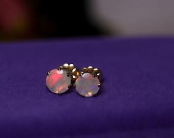 White opal studs, natural opal, fire opal earrings, 14K gold filled, rainbow opal studs, gold opal earrings, anniversary gift, opal earrings