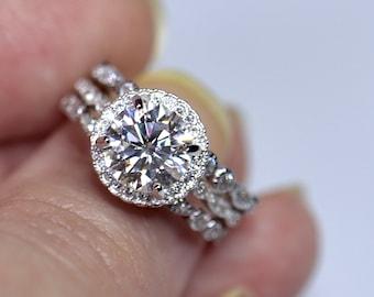 White moissanite, moissanite ring set, moissanite Engagement, engagement rings, matching band, forever one, moissanite rings set, bridal set
