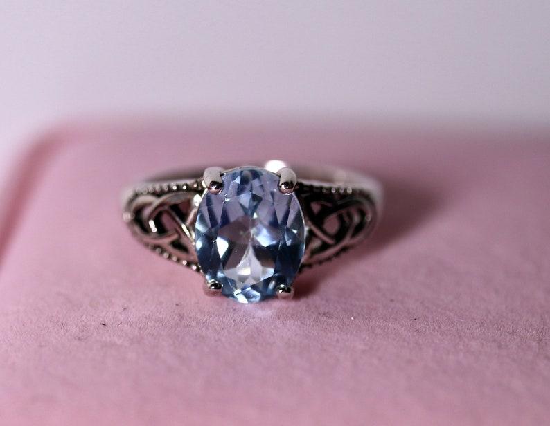 topaz Jewelry November birthstone celtic topaz ring gift for her Vintage silver ring Topaz silver ring blue topaz ring for women,