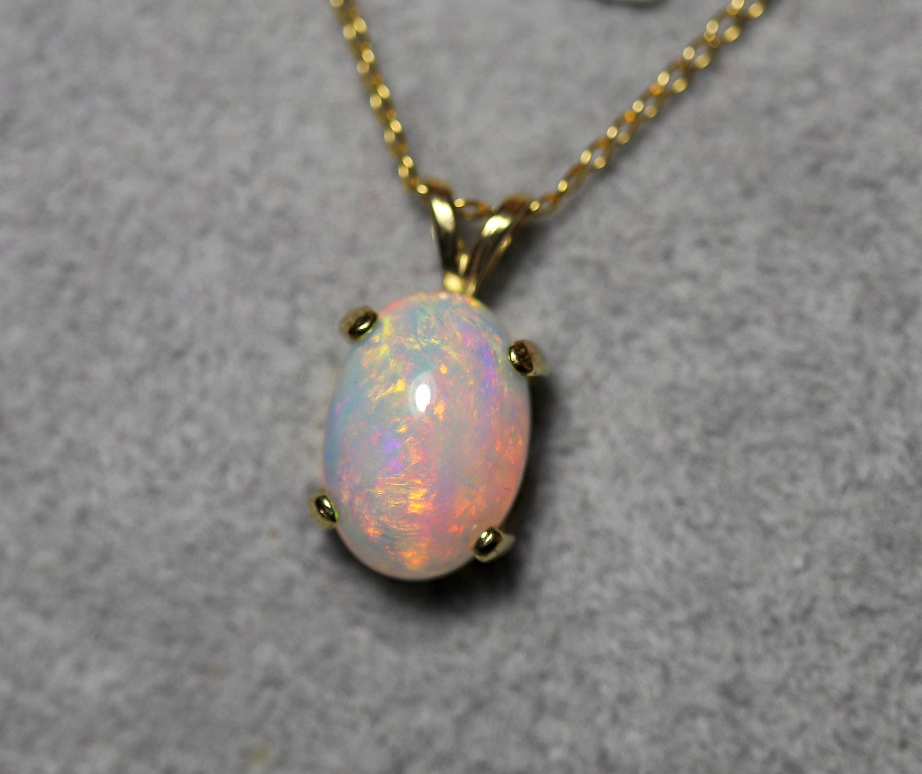 White Opal Necklace Natural Fire Opal Necklace Fire Opal