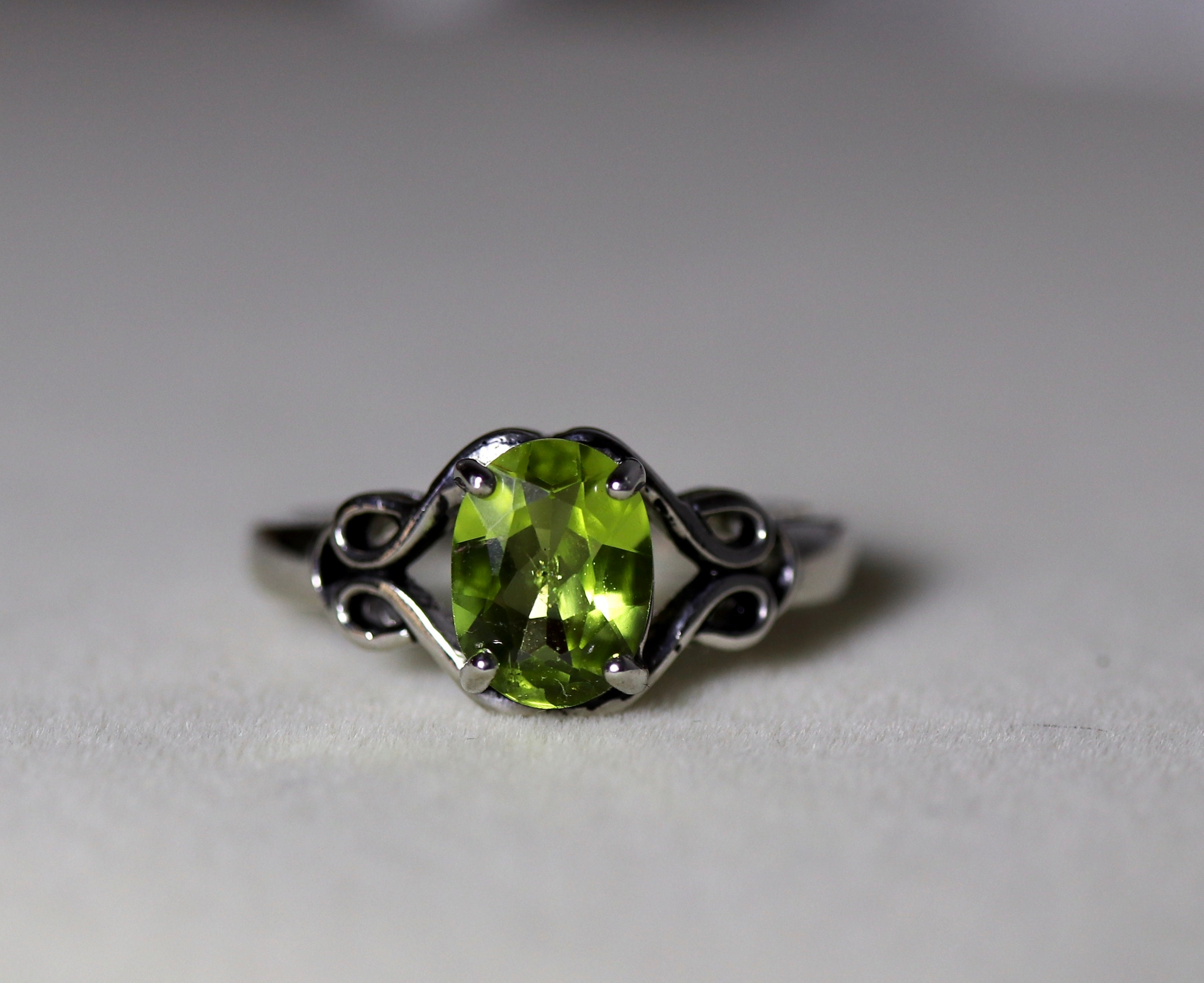 35cebbc04385d Peridot ring, 925 sterling silver ring, August birthstone, rings for ...
