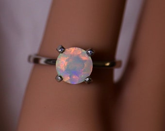 Opal engagement ring, fire opal ring, opal solitaire, opal promise ring, rare opal, anniversary ring, rings for women, classic engagement