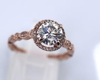 Halo rose gold ring, natural diamonds paved, full eternity band, Forever One white, genuine moissanite, top fire grade, bridal ring set
