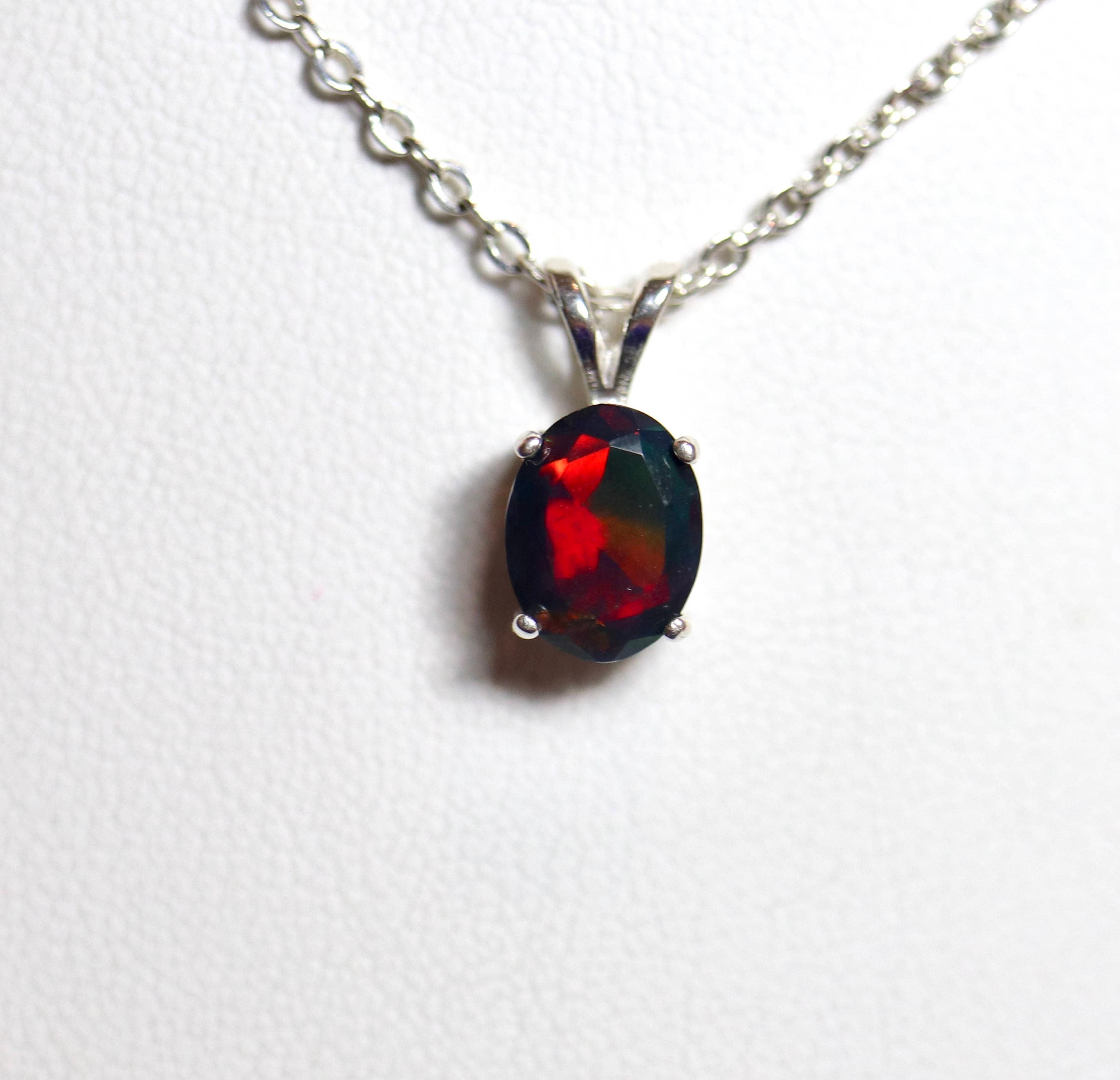 Natural black opal necklace made with primarily red colored opal 1 aloadofball Choice Image