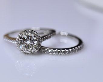 Silver moissanite ring, engagement ring, white moissanite, forever one, bridal ring, round brilliant cut, white gold, round halo ring