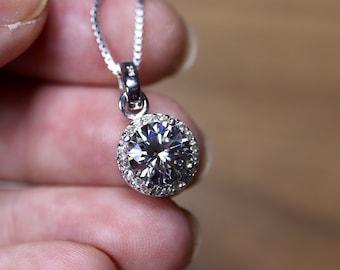 Gray moissanite, halo moissanite, round halo pendant, gray moissanite ring, moissanite set, gift for her, grey moissanite necklace,