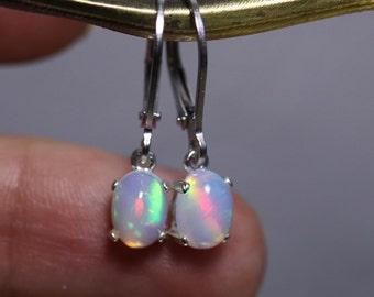 Fire opal earrings, dangle opal earrings, silver leverback earrings, rainbow opal, opal jewelry, birthday gift for her, anniversary gift,
