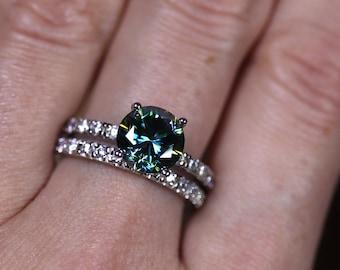 Blue moissanite, moissanite ring, moissanite set, bridal set, classic engagement, round brilliant, solitaire engagement, blue gemstone, ring