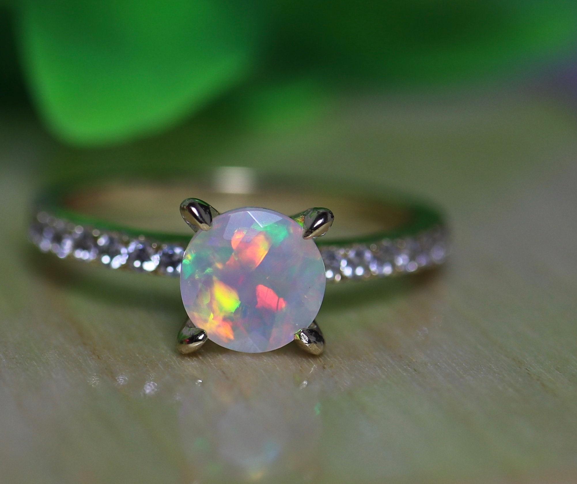 ad558d1bbdfe9 Bridal opal ring, 14K gold opal ring, opal wedding ring, bridal set ...