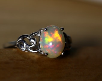 Honey natural opal ring, genuine fire opal silver ring, opal engagement ring, vintage opal ring, Victorian Jewelry, gift for her, opal ring
