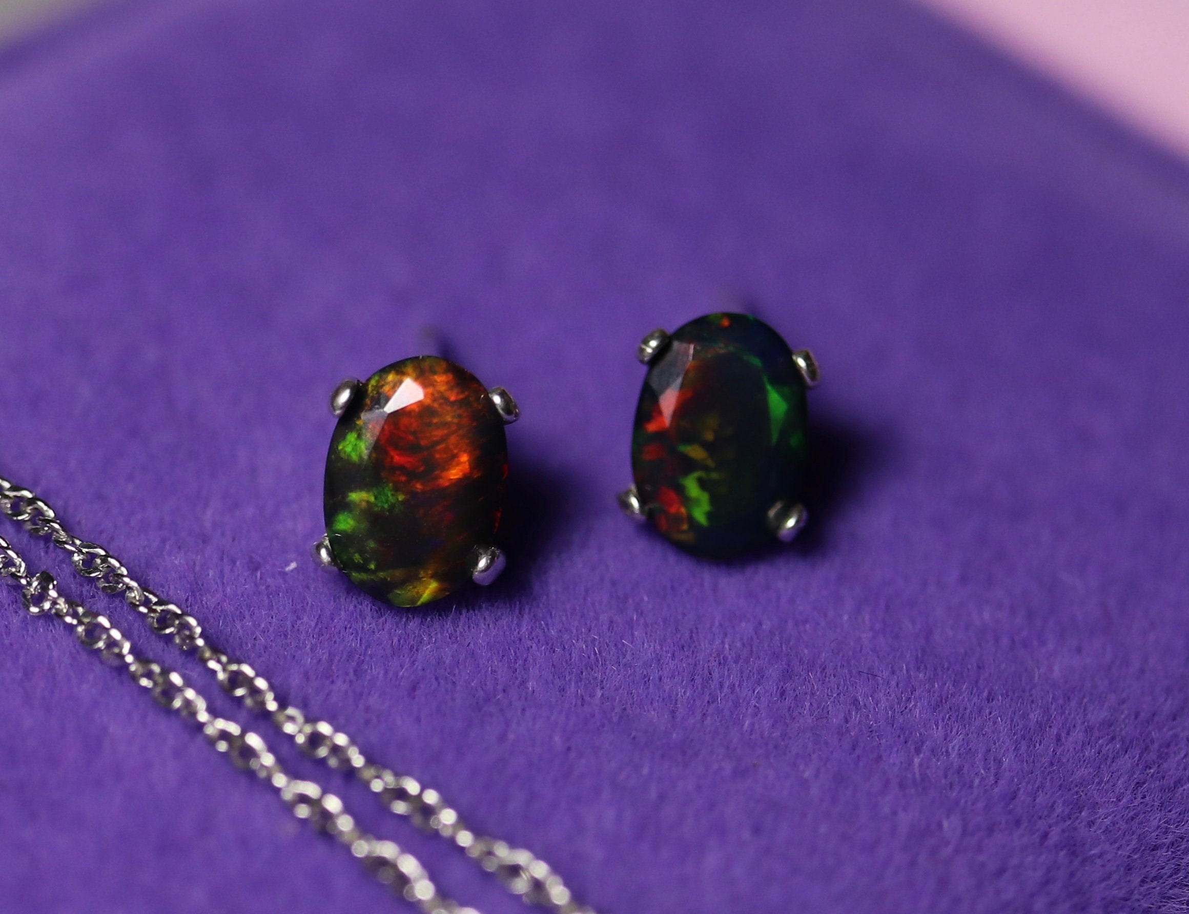 925 Sterling Silver Jewelry 7x5 MM Oval Natural Welo Ethiopian Opal Stud Earring