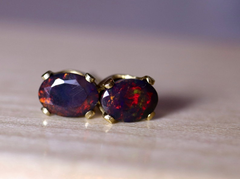 ad8c6d7e1 Red opal earrings black opal studs silver opal studs fire | Etsy