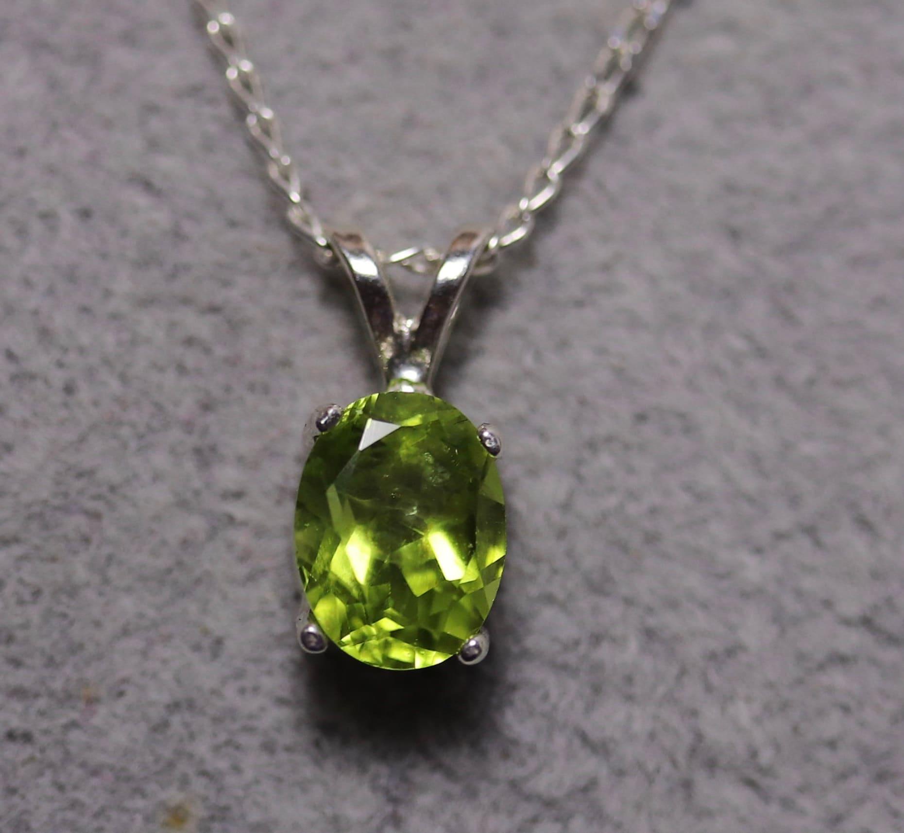 Peridot silver necklace, gemstone pendant, peridot jewelry