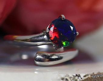 Natural black opal ring, silver black Opal ting, black fire opal ring, genuine black opal, black fire opal ring, fire opal ring, opal ring
