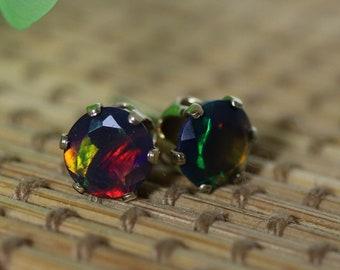 Black fire opal earrings, gold filled stud earrings, red opal, minimalist earrings, opal stud earrings, opal jewelry, natural black opal