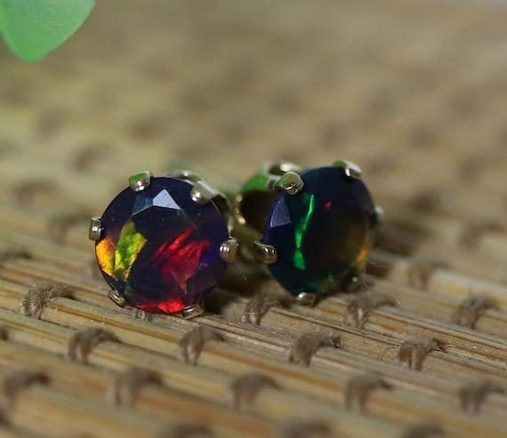 Black Fire Opal Stud Earrings,Genuine Black Opal Studs,7mm Opal Earrings,Sterling Silver Post,Real Black Opal Earrings,October Birthstone
