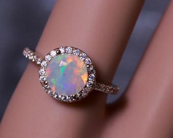 Opal bridal ring, gold opal ring, opal wedding rings, halo opal ring, diamond opal ring, opal engagement ring, moissanite ring, opal wedding