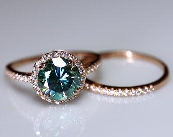 Moissanite bridal set, 14k Gold bridal set, blue moissanite, moissanite bridal, diamond band, 14k rose gold, diamond halo ring, 2.5ct gem