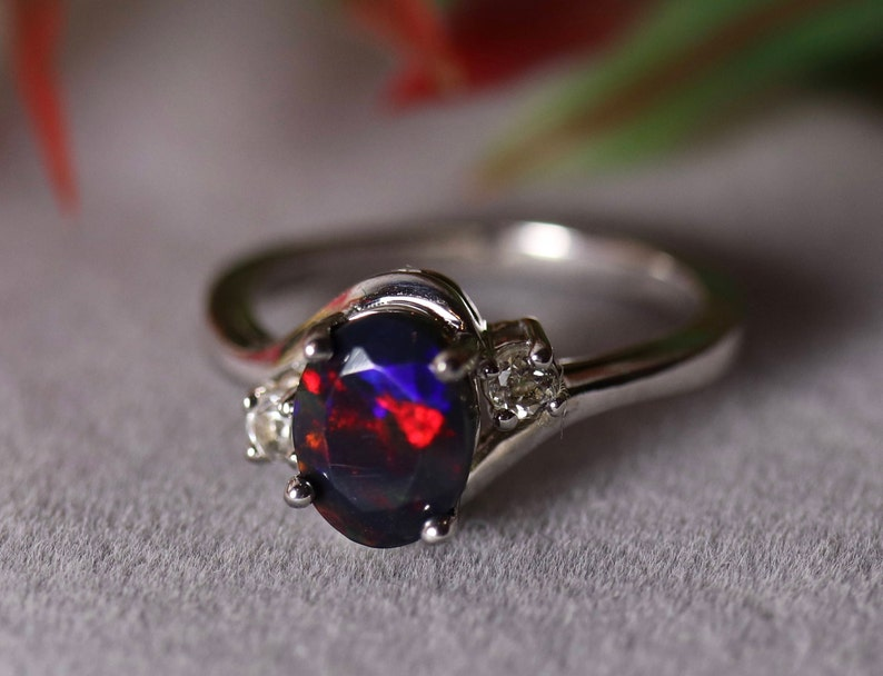 SPARKLING RED fire natural black fire opal engagement ring image 0