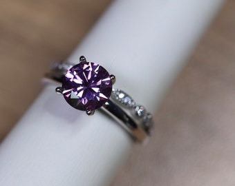 Purple moissanite, unique wedding ring, 14K white gold, diamond paved band, bridal set, moissanite solitaire, moissanite wedding, bridal