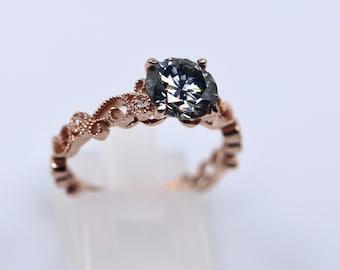 Gray moissanite, 14K engagement ring, Art Deco bridal ring, rose gold moissanite, diamond paved band, grey moissanite ring, Art Deco ring