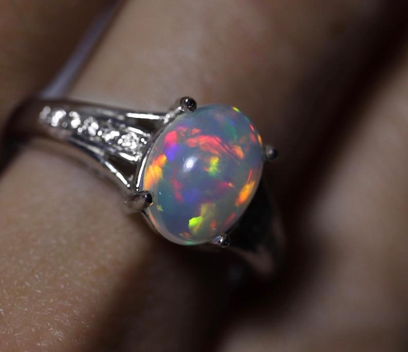 anniversary gift welo opal Natural opal engagement ring rainbow opal ring ethiopian opal opal engagement ring unique wedding ring