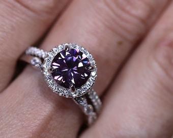 Bridal set, silver bridal set, purple moissanite, halo ring setting, diamond halo ring, moissanite ring, 925 sterling silver, diamond ring