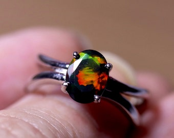 VIVID RED natural black fire opal ring, genuine black opal ring, silver opal ring, opal engagement ring, authentic black opal, fire opal