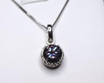 Purple gemstone, moissanite necklace, halo ringet, purple gemstone, moissanite pendant, moissanite bridal set, birthday gift,