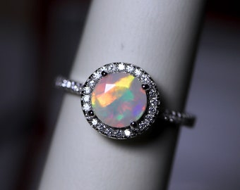 White opal halo ring, opal engagement ring, fire opal ring, opal bridal set, halo wedding ring, rings for women, natural opal, opal rings