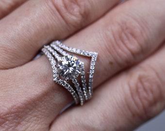 925 silver set, engagement rings, silver bridal set, moissanite wedding, chevron band, white moissanite set, unique bridal rings,