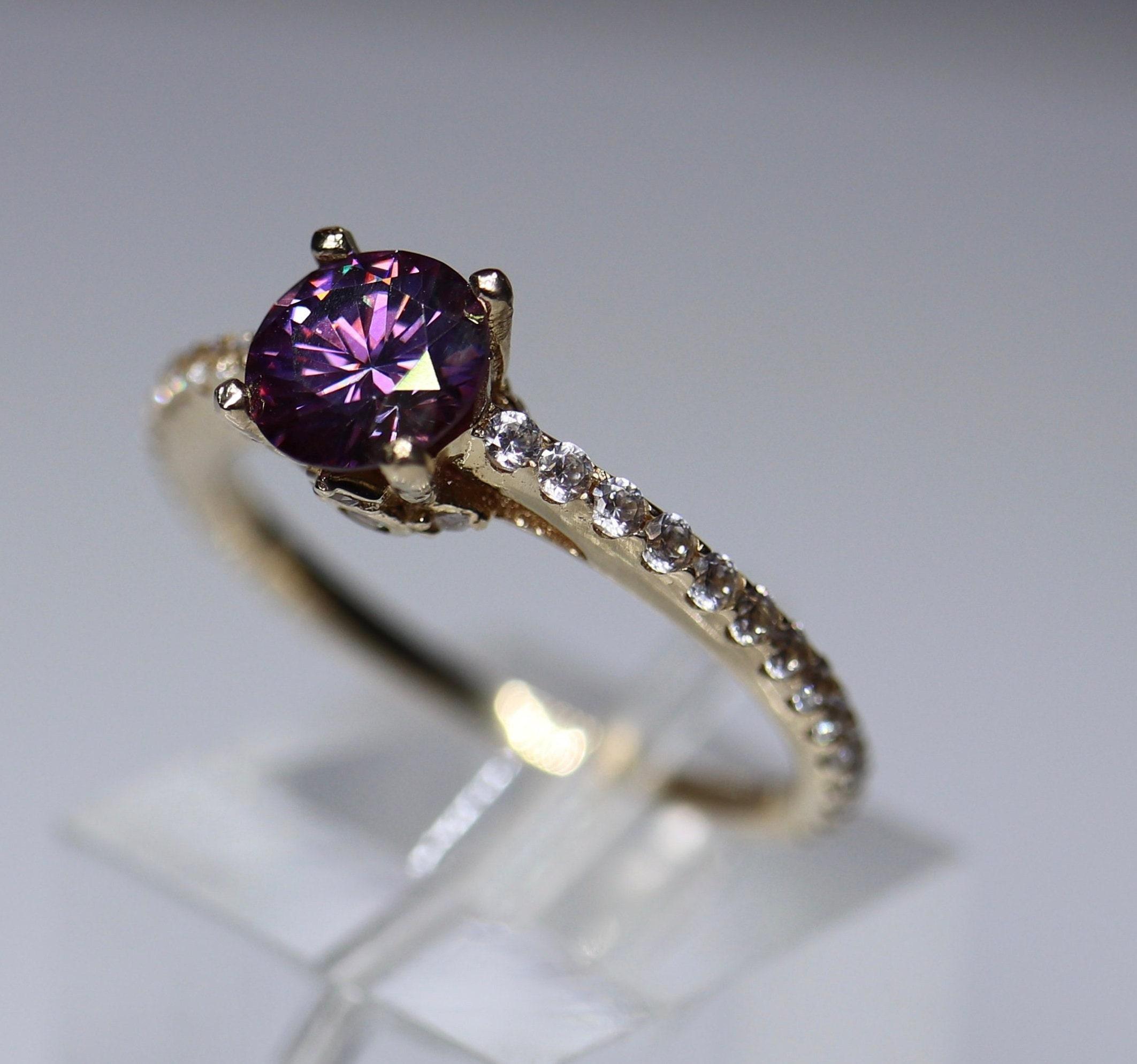 Purple Moissanite Unique Engagement 14k Gold Solitaire Moissanite