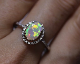 Fire opal ring, halo engagement ring, oval solitaire, 14K gold, natural opal, wedding ring set, anniversary gift, diamond paved band, dainty