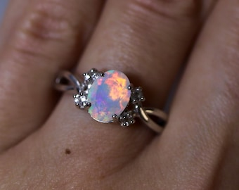 Natural opal ring, fire opal ring, opal engagement ring, rainbow opal, dainty opal ring, anniversary ring, rings for women, gift for her,