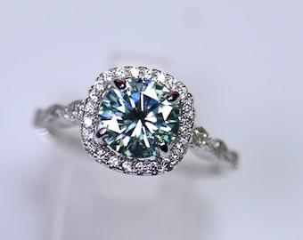 Blue moissanite, moissanite ring, bridal set, gray moissanite, unique wedding ring, cushion moissanite, blue gemstone ring, bridal rings