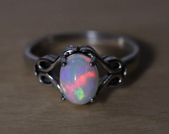 Opal silver ring, natural fire opal, white opal, Celtic jewelry, anniversary gift, natural opal set, opal earrings, Fire opal ring, Celtic