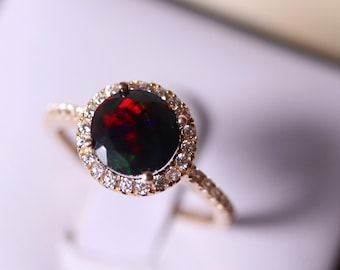 Gold engagement ring, natural black opal, halo gold ring, gold opal ring, genuine black opal, diamond ring, gift for her, wedding ring