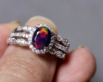 Black opal ring, opal bridal set, genuine black opal, opal bridal ring, 925 sterling silver, opal wedding ring, opal halo ring, black opal