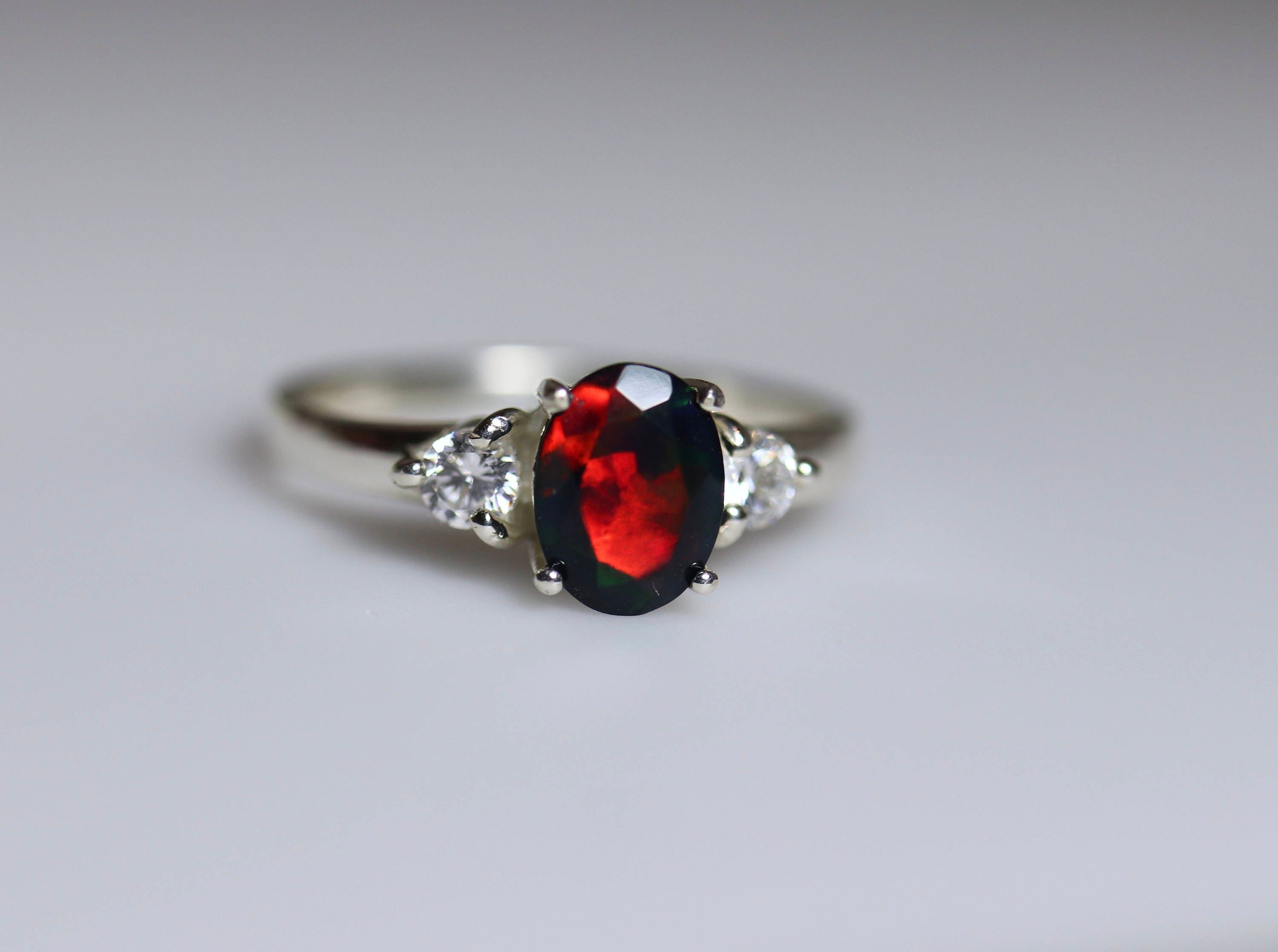 black opal engagement ring cz accented delicate ring. Black Bedroom Furniture Sets. Home Design Ideas